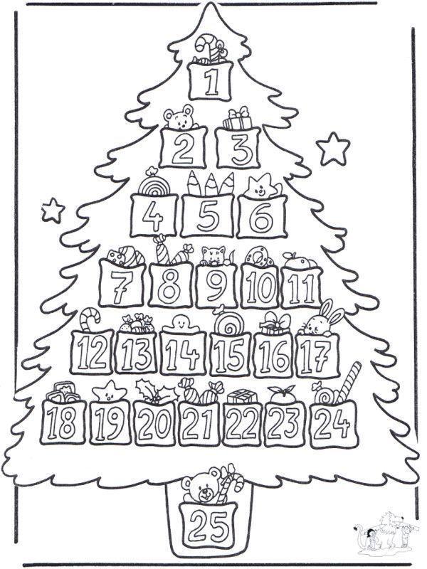 Coloriage calendrier de l 39 avent sapin - Coloriage calendrier de l avent ...